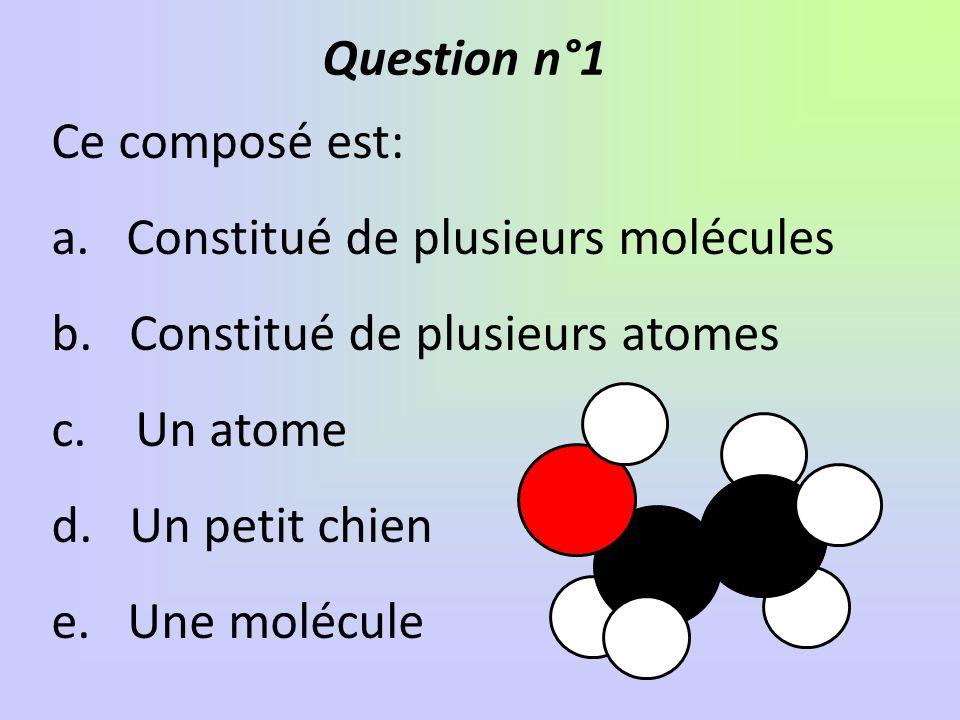 Les formules qui correspondent à des molécules sont: a. S b. Na c. CH d. Cu e. COf.Co Question n°2