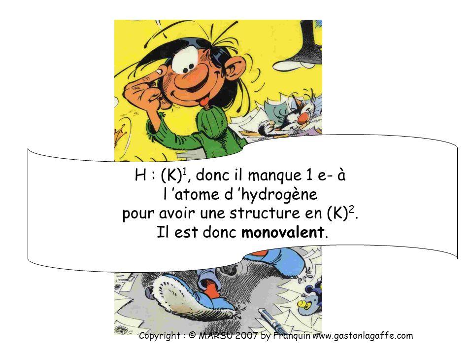 H : (K) 1 C : (K) 2 (L) 4 Cl : (K) 2 (L) 8 (M) 7 Copyright : © MARSU 2007 by Franquin www.gastonlagaffe.com