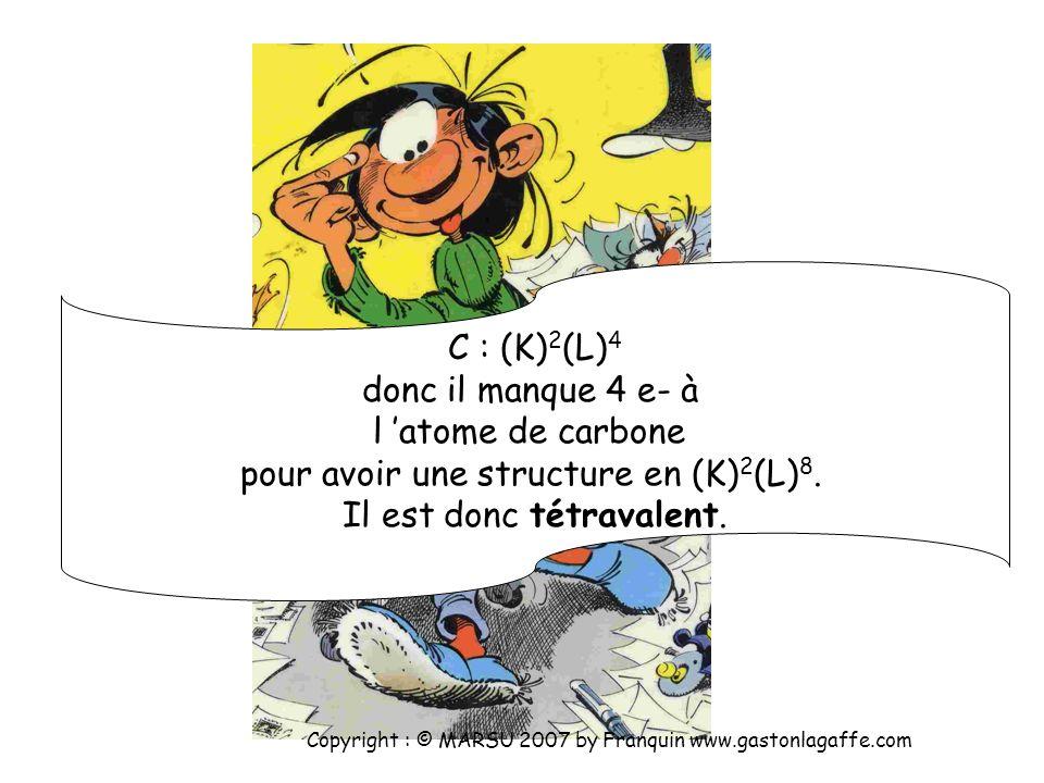 H : (K) 1, donc il manque 1 e- à l atome d hydrogène pour avoir une structure en (K) 2. Il est donc monovalent. Copyright : © MARSU 2007 by Franquin w