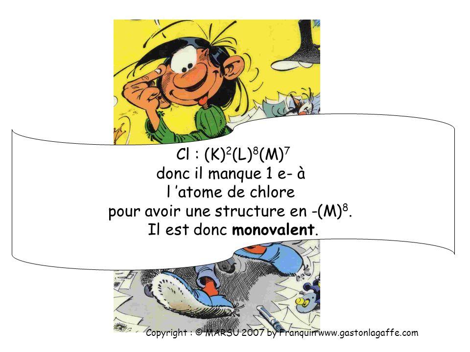 C : (K) 2 (L) 4 donc il manque 4 e- à l atome de carbone pour avoir une structure en (K) 2 (L) 8. Il est donc tétravalent. Copyright : © MARSU 2007 by