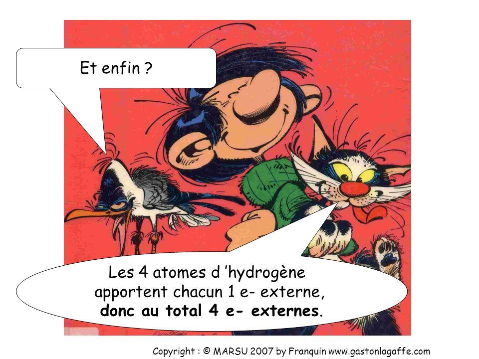 Les 2 atomes de chlore apportent chacun 7 e- externes, donc au total 14 e- externes. Et ensuite ? Copyright : © MARSU 2007 by Franquin www.gastonlagaf