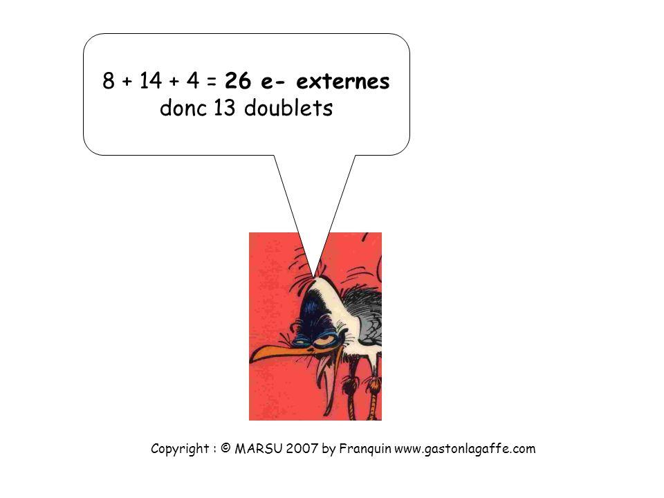 Les 4 atomes d hydrogène apportent chacun 1 e- externe, donc au total 4 e- externes. Et enfin ? Copyright : © MARSU 2007 by Franquin www.gastonlagaffe