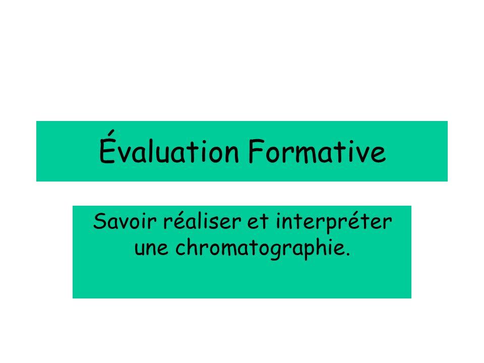 Évaluation Formative Savoir réaliser et interpréter une chromatographie.