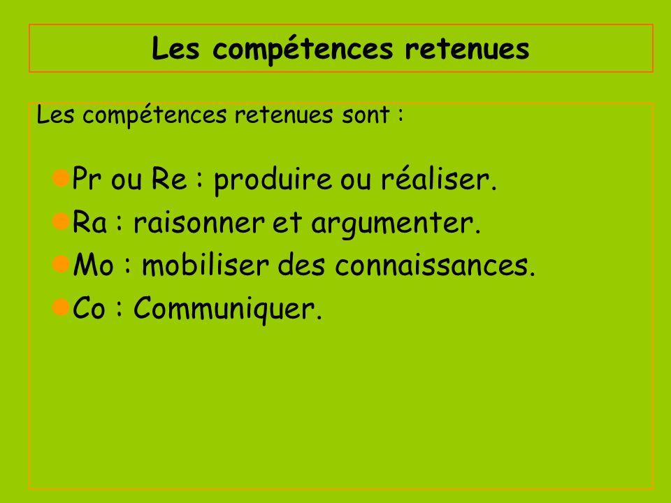Les compétences retenues Les compétences retenues sont : Pr ou Re : produire ou réaliser. Ra : raisonner et argumenter. Mo : mobiliser des connaissanc
