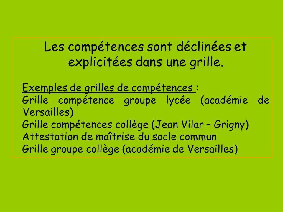 Les compétences sont déclinées et explicitées dans une grille. Exemples de grilles de compétences : Grille compétence groupe lycée (académie de Versai