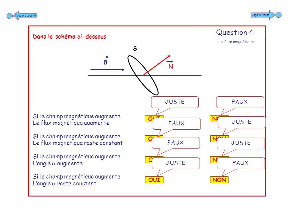 Question 5 Dans le schéma ci-dessous Le champ magnétique sexprime en teslas Le flux magnétique sexprime en teslas Le flux magnétique sexprime en webers Le champ magnétique sexprime en webers NON FAUX OUI JUSTE NON JUSTE OUI FAUX NON FAUX OUI JUSTE NON JUSTE OUI FAUX Page suivante Page précédente Le flux magnétique B N S