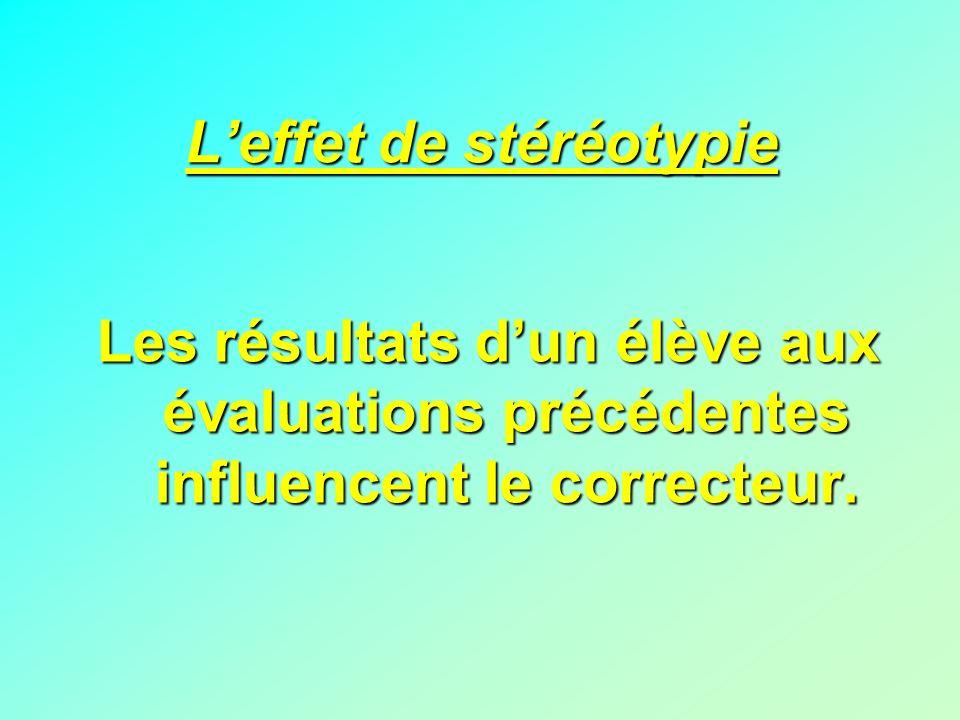 Leffet de stéréotypie Les résultats dun élève aux évaluations précédentes influencent le correcteur.
