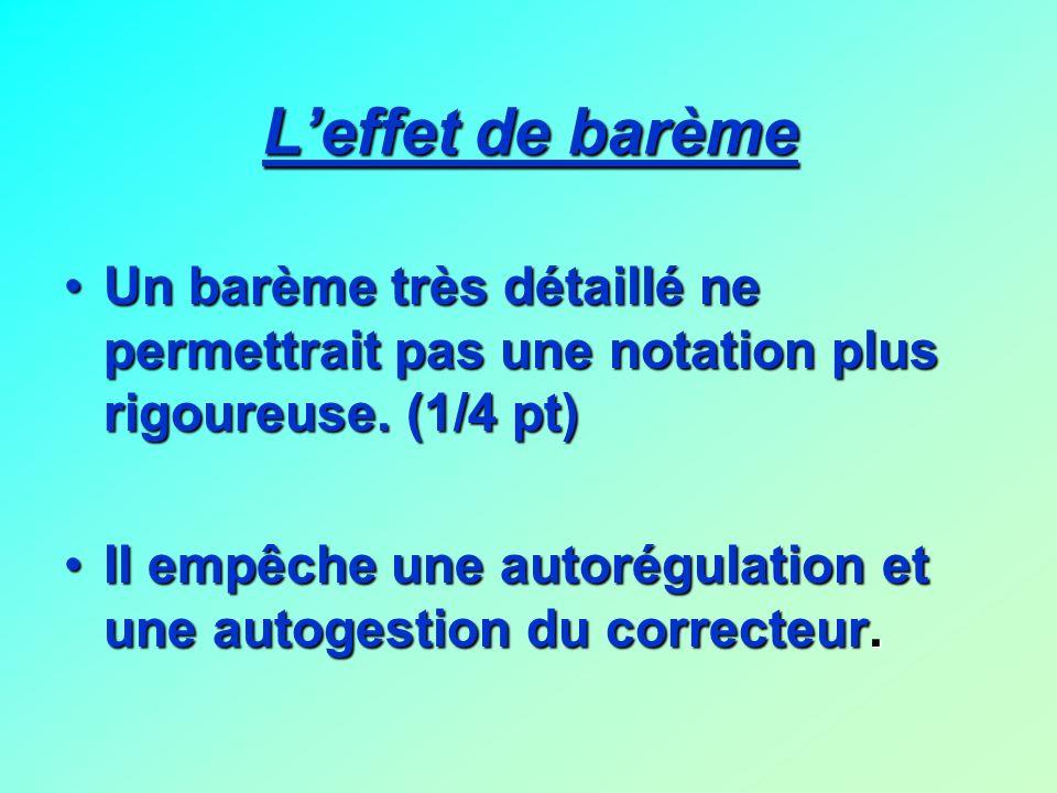 Leffet de barème Un barème très détaillé ne permettrait pas une notation plus rigoureuse. (1/4 pt) Il empêche une autorégulation et une autogestion du
