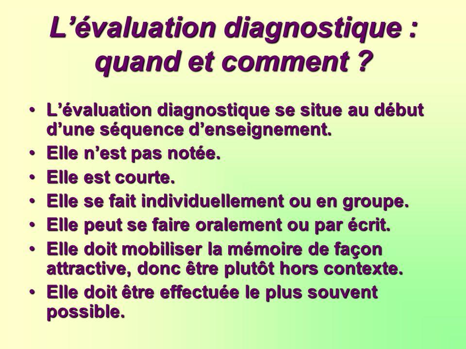 Lévaluation diagnostique : quand et comment ? Lévaluation diagnostique se situe au début dune séquence denseignement. Elle nest pas notée. Elle est co