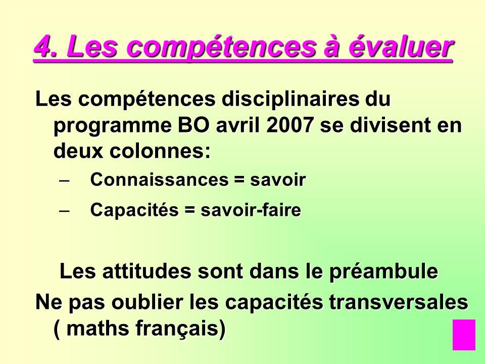 4. Les compétences à évaluer Les compétences disciplinaires du programme BO avril 2007 se divisent en deux colonnes: – C onnaissances = savoir apacité