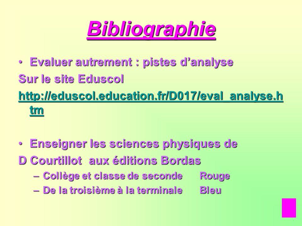 Bibliographie Evaluer autrement : pistes danalyseEvaluer autrement : pistes danalyse Sur le site Eduscol http://eduscol.education.fr/D017/eval_analyse