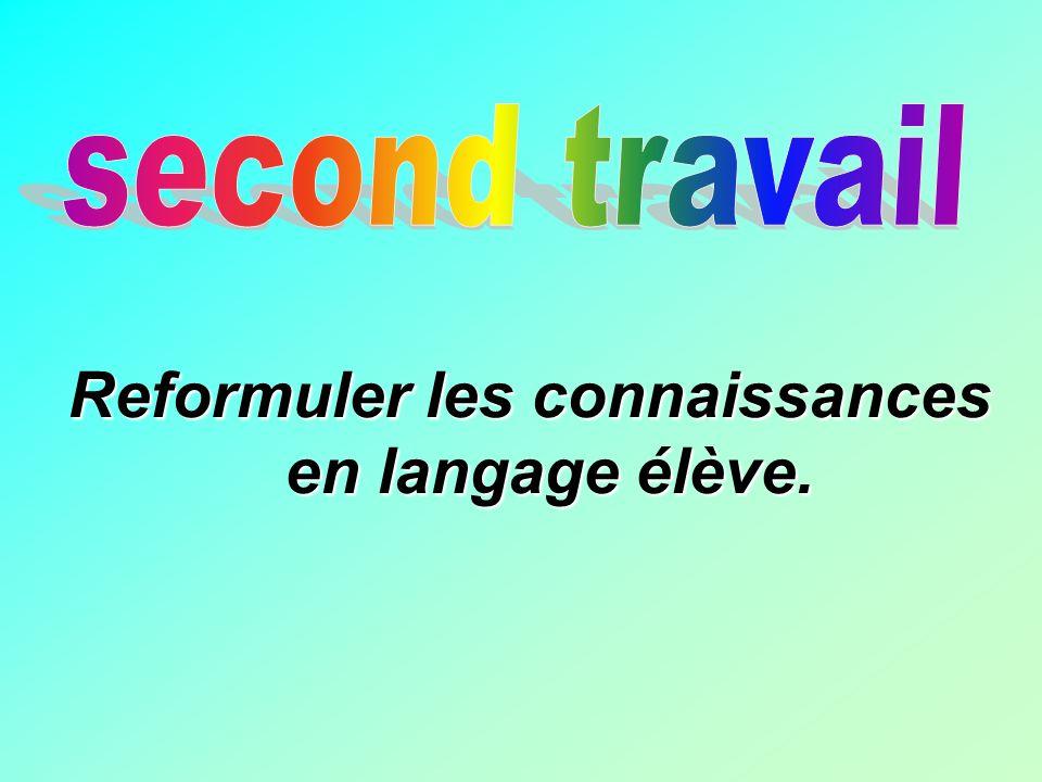 Reformuler les connaissances en langage élève.