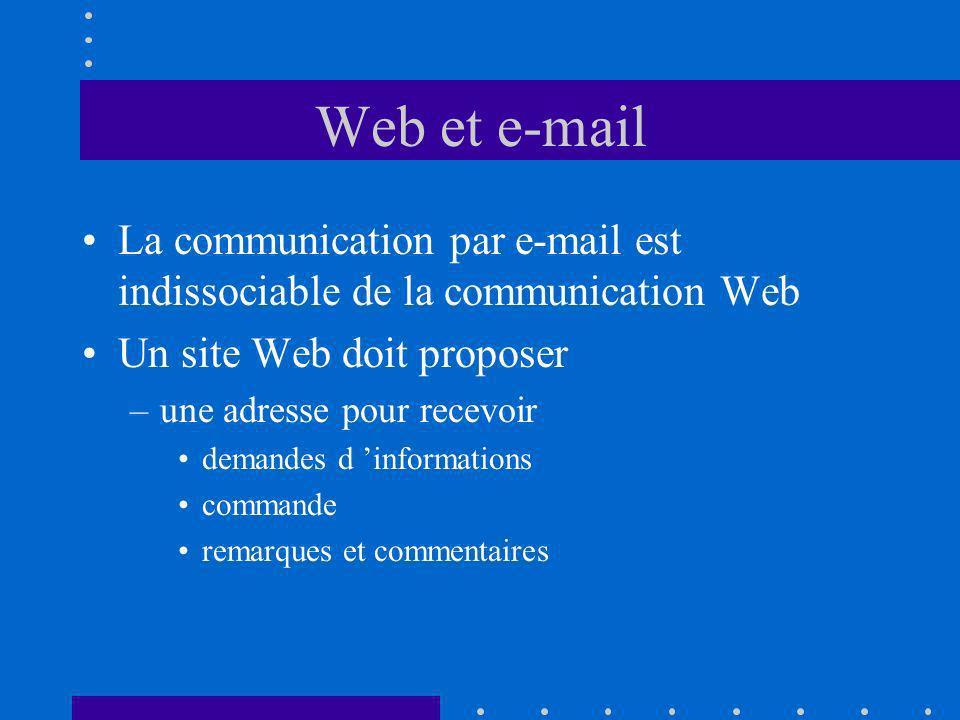 Web et e-mail La communication par e-mail est indissociable de la communication Web Un site Web doit proposer –une adresse pour recevoir demandes d informations commande remarques et commentaires