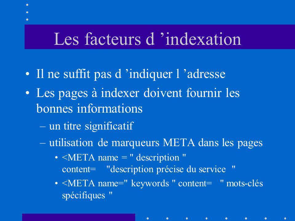 Les facteurs d indexation Il ne suffit pas d indiquer l adresse Les pages à indexer doivent fournir les bonnes informations –un titre significatif –utilisation de marqueurs META dans les pages <META name = description content= description précise du service <META name= keywords content= mots-clés spécifiques