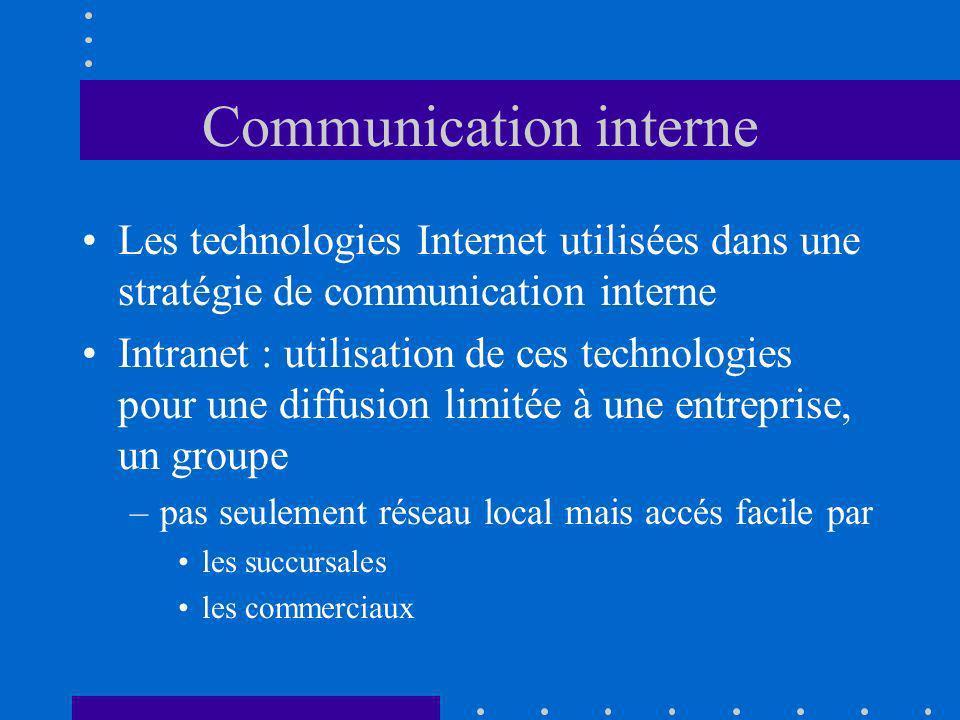 Communication interne Les technologies Internet utilisées dans une stratégie de communication interne Intranet : utilisation de ces technologies pour une diffusion limitée à une entreprise, un groupe –pas seulement réseau local mais accés facile par les succursales les commerciaux