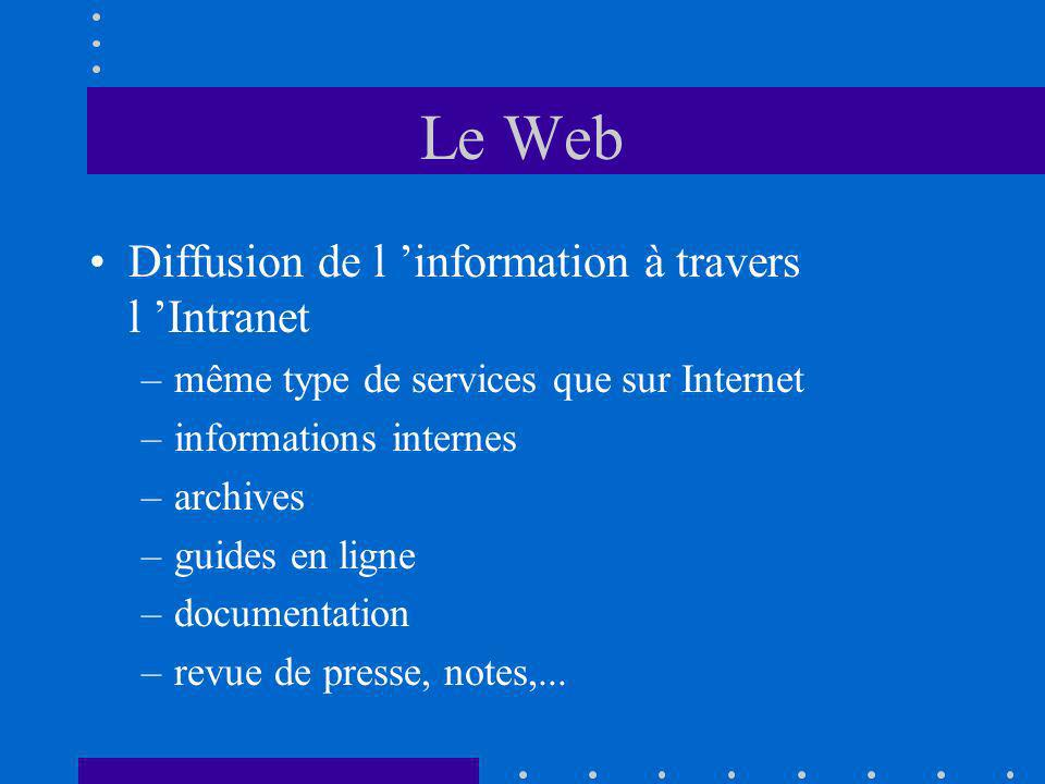 Le Web Diffusion de l information à travers l Intranet –même type de services que sur Internet –informations internes –archives –guides en ligne –documentation –revue de presse, notes,...