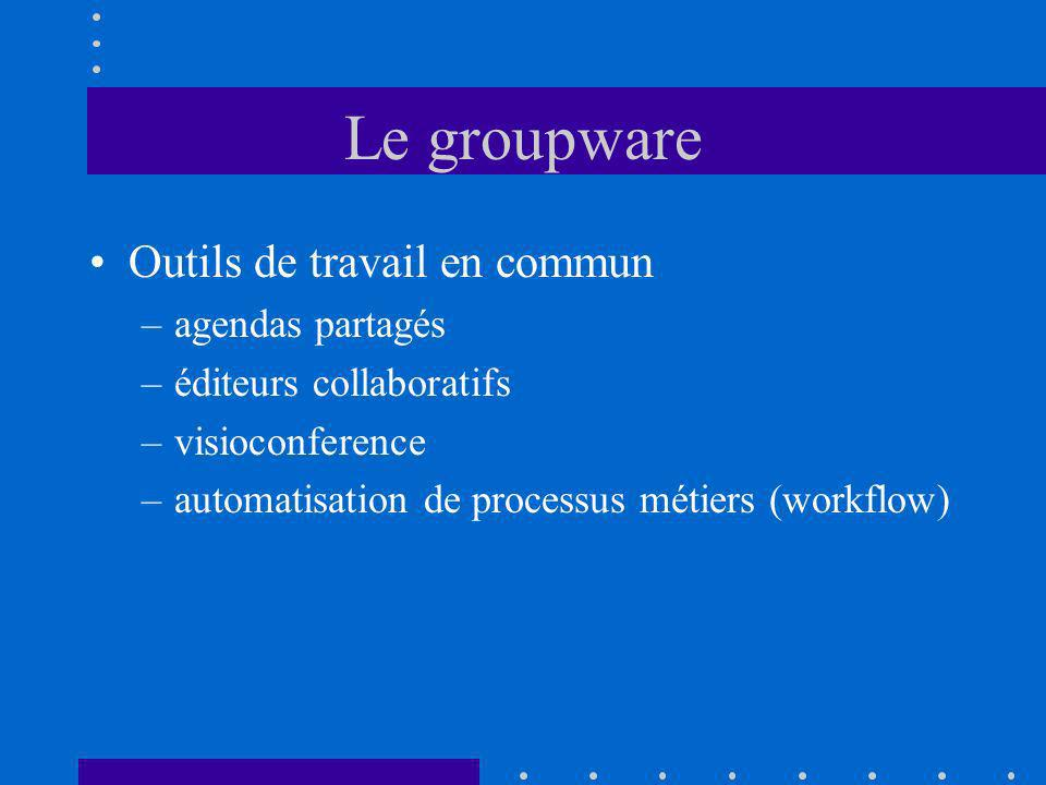 Le groupware Outils de travail en commun –agendas partagés –éditeurs collaboratifs –visioconference –automatisation de processus métiers (workflow)