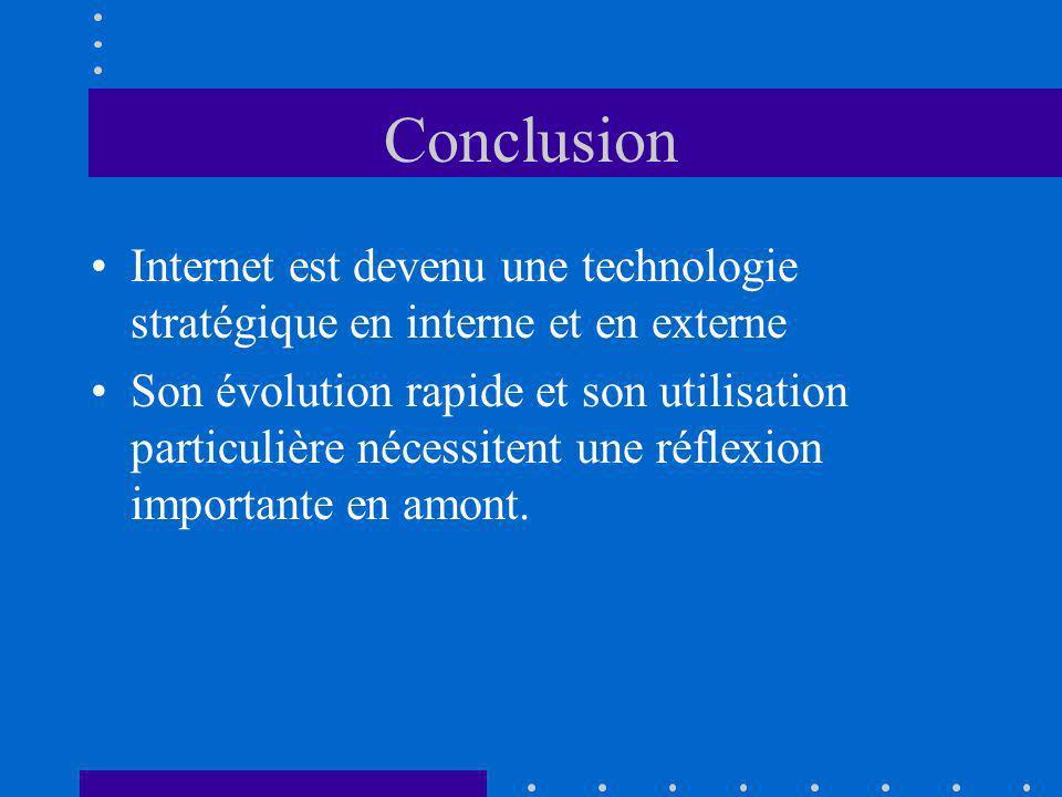 Conclusion Internet est devenu une technologie stratégique en interne et en externe Son évolution rapide et son utilisation particulière nécessitent une réflexion importante en amont.