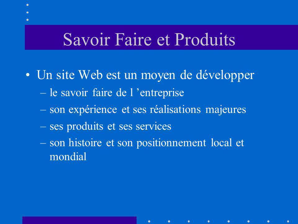 Savoir Faire et Produits Un site Web est un moyen de développer –le savoir faire de l entreprise –son expérience et ses réalisations majeures –ses produits et ses services –son histoire et son positionnement local et mondial