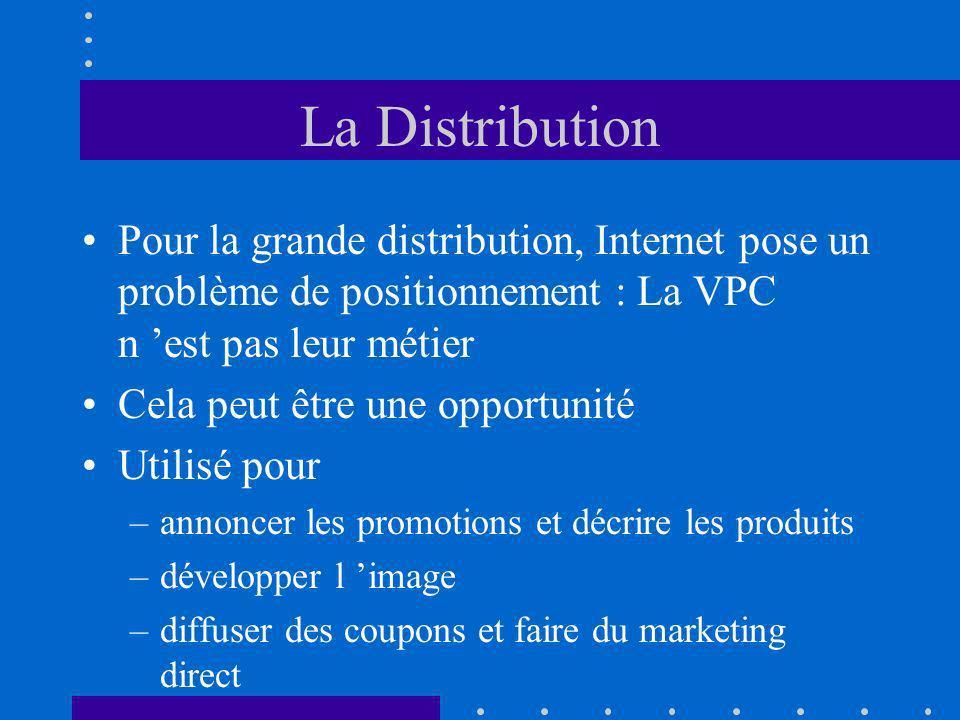 La Distribution Pour la grande distribution, Internet pose un problème de positionnement : La VPC n est pas leur métier Cela peut être une opportunité Utilisé pour –annoncer les promotions et décrire les produits –développer l image –diffuser des coupons et faire du marketing direct