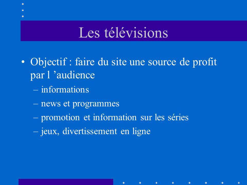 Les télévisions Objectif : faire du site une source de profit par l audience –informations –news et programmes –promotion et information sur les séries –jeux, divertissement en ligne