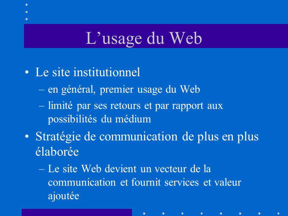 L emploi Le Web est un moyen économique de solliciter des CV –Internet est fréquenté par les étudiants –Un serveur est vecteur dimage et peut attirer les compétences –L information sur les emplois peut être détaillée.