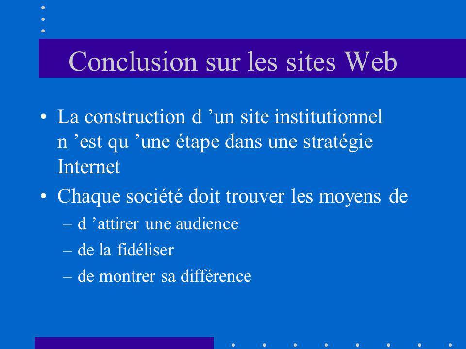 Conclusion sur les sites Web La construction d un site institutionnel n est qu une étape dans une stratégie Internet Chaque société doit trouver les moyens de –d attirer une audience –de la fidéliser –de montrer sa différence