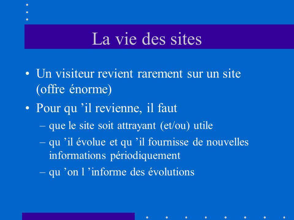 La vie des sites Un visiteur revient rarement sur un site (offre énorme) Pour qu il revienne, il faut –que le site soit attrayant (et/ou) utile –qu il évolue et qu il fournisse de nouvelles informations périodiquement –qu on l informe des évolutions