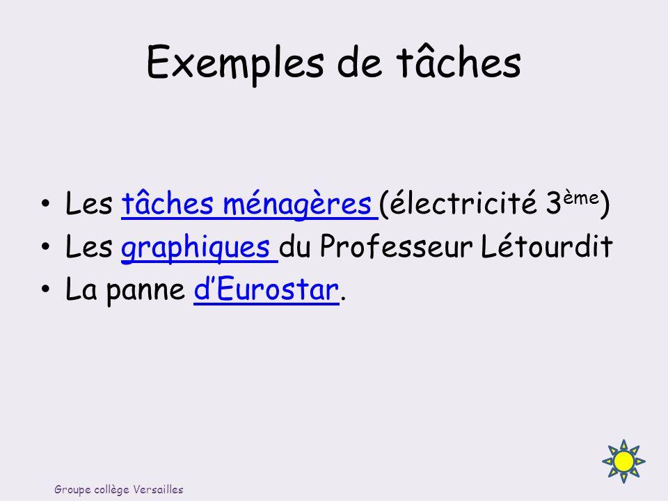 Exemples de tâches Les tâches ménagères (électricité 3 ème )tâches ménagères Les graphiques du Professeur Létourditgraphiques La panne dEurostar.dEuro