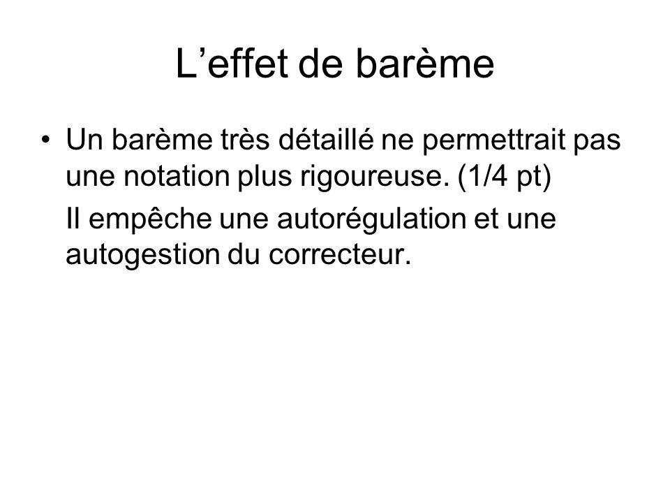 Leffet de barème Un barème très détaillé ne permettrait pas une notation plus rigoureuse.