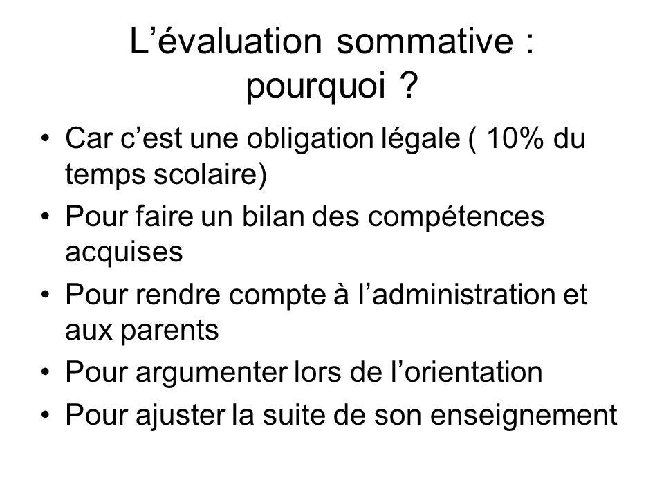 Lévaluation sommative : pourquoi .
