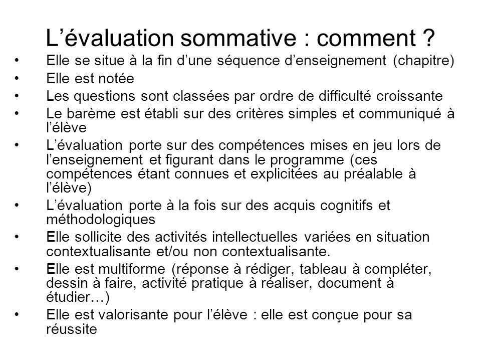 Lévaluation sommative : comment .
