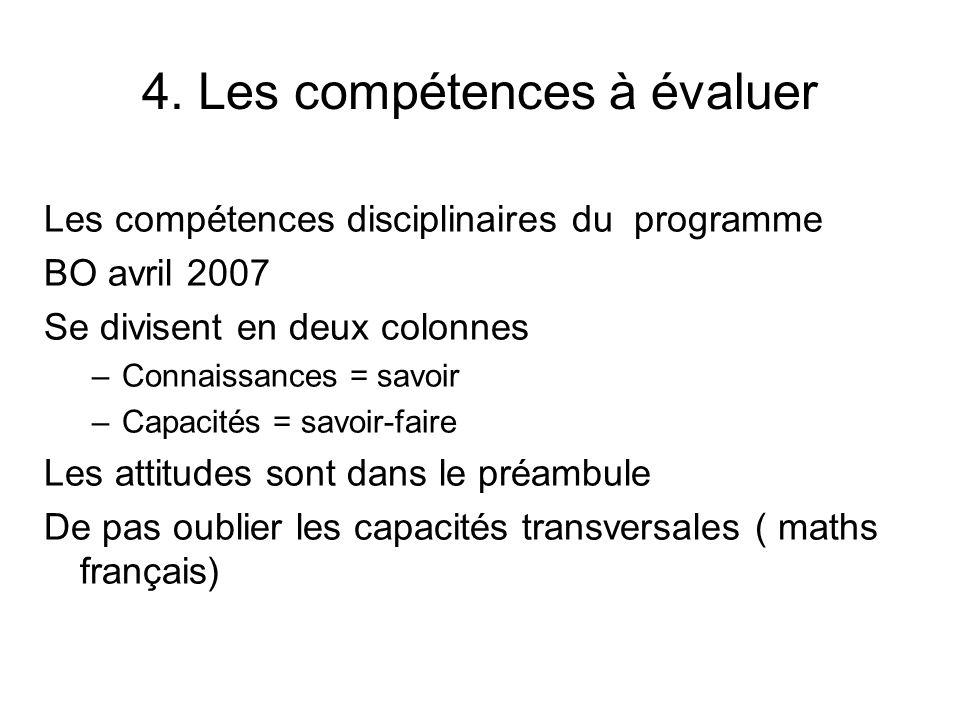 4. Les compétences à évaluer Les compétences disciplinaires du programme BO avril 2007 Se divisent en deux colonnes –Connaissances = savoir –Capacités
