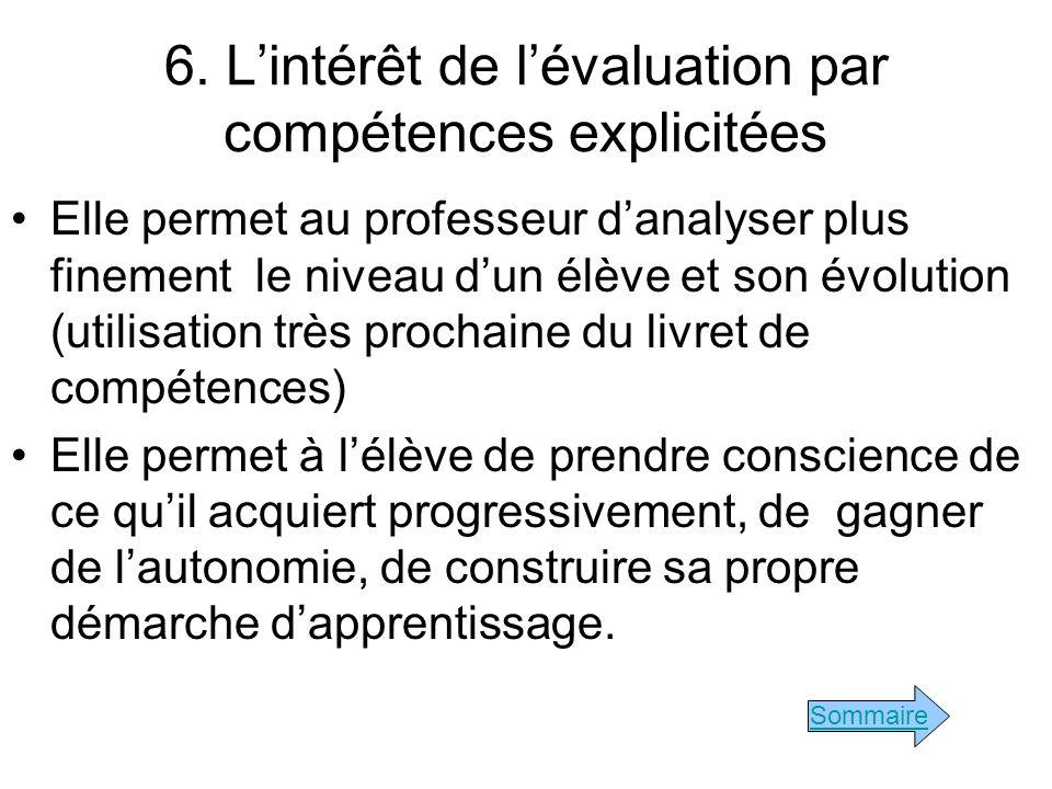 6. Lintérêt de lévaluation par compétences explicitées Elle permet au professeur danalyser plus finement le niveau dun élève et son évolution (utilisa