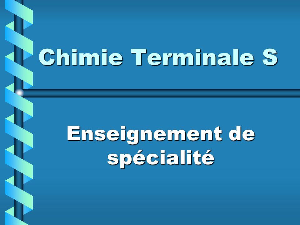 Chimie Terminale S Enseignement de spécialité