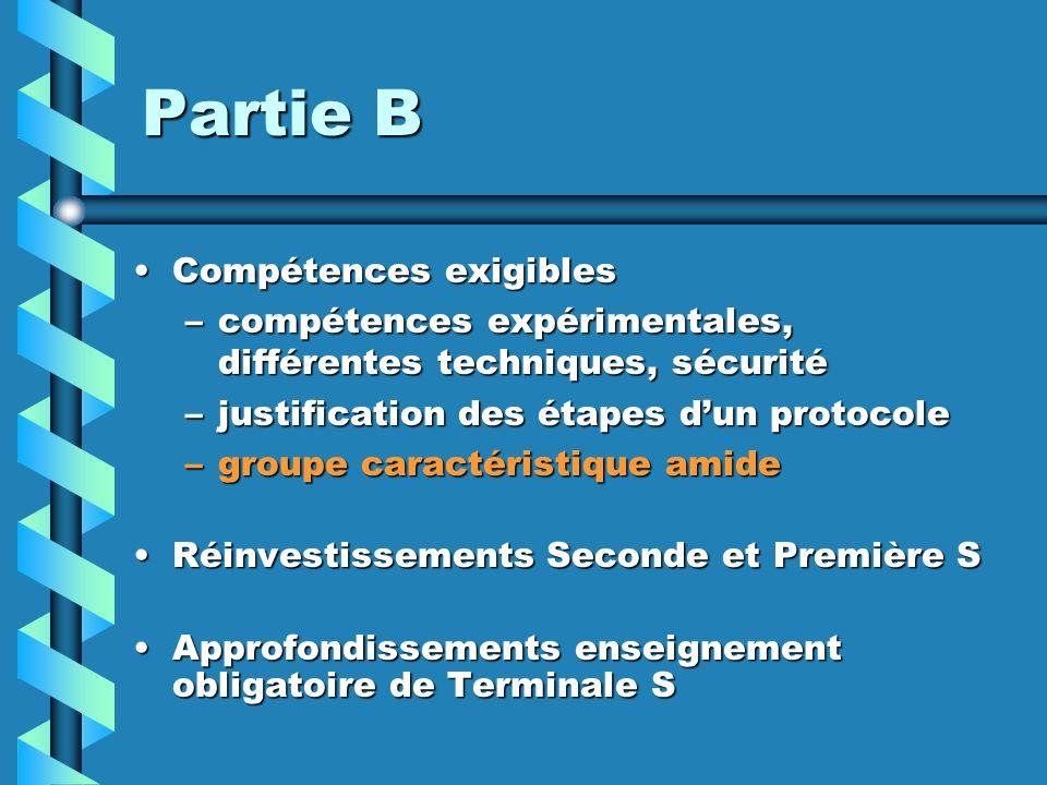 Partie B Compétences exigiblesCompétences exigibles –compétences expérimentales, différentes techniques, sécurité –justification des étapes dun protoc