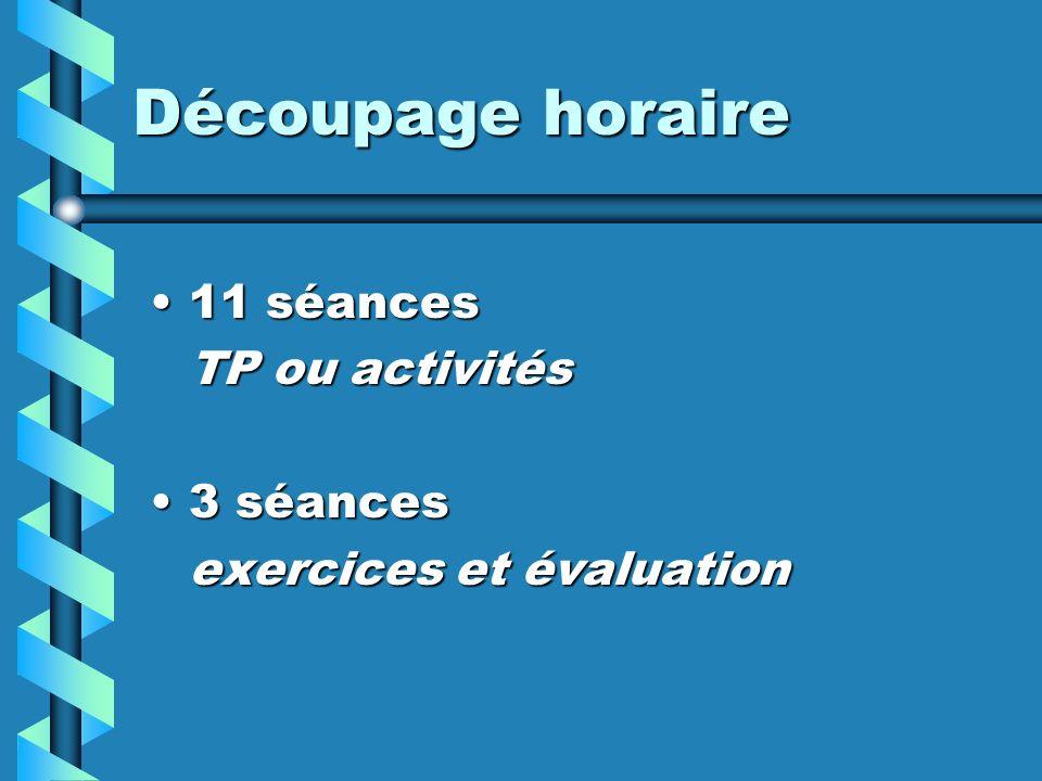 11 séances11 séances TP ou activités 3 séances3 séances exercices et évaluation Découpage horaire