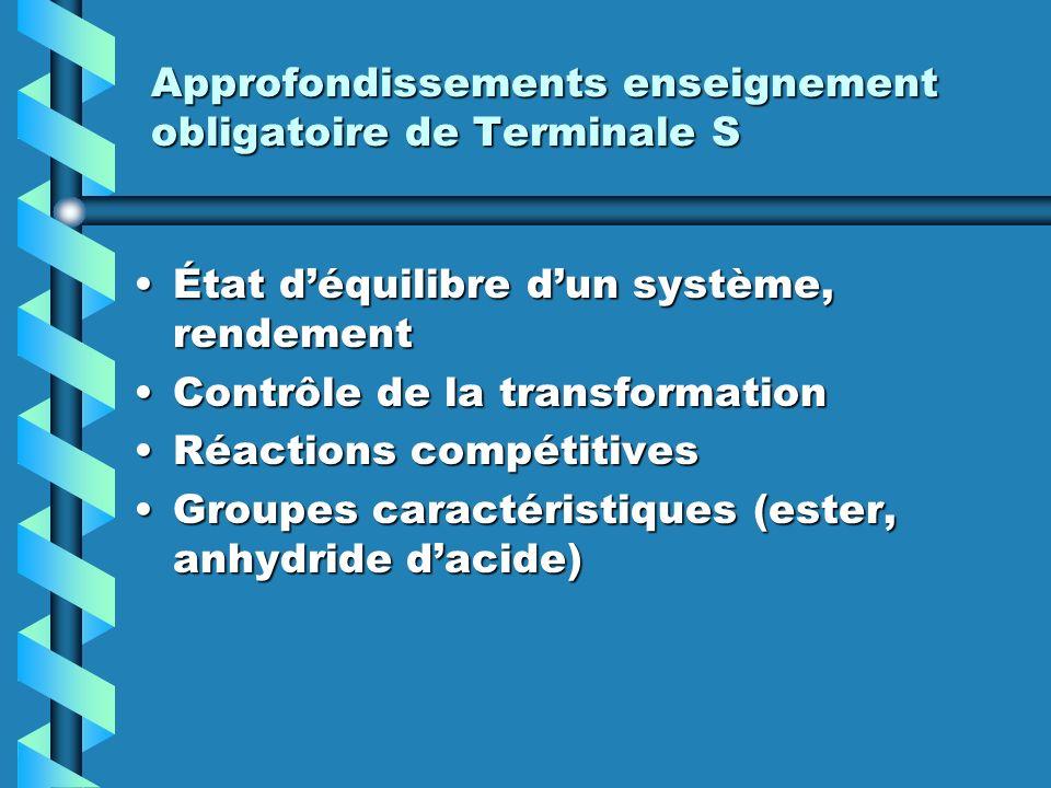 Approfondissements enseignement obligatoire de Terminale S État déquilibre dun système, rendementÉtat déquilibre dun système, rendement Contrôle de la