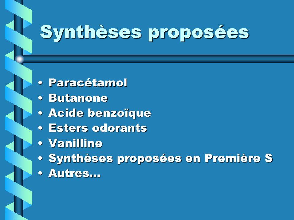 Synthèses proposées ParacétamolParacétamol ButanoneButanone Acide benzoïqueAcide benzoïque Esters odorantsEsters odorants VanillineVanilline Synthèses proposées en Première SSynthèses proposées en Première S Autres…Autres…