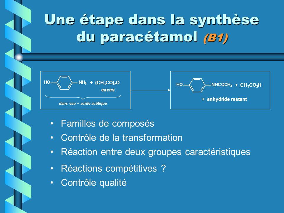 Une étape dans la synthèse du paracétamol (B1) Familles de composés + (CH 3 CO) 2 O + CH 3 CO 2 H dans eau + acide acétique Contrôle de la transformation Réaction entre deux groupes caractéristiques Réactions compétitives .