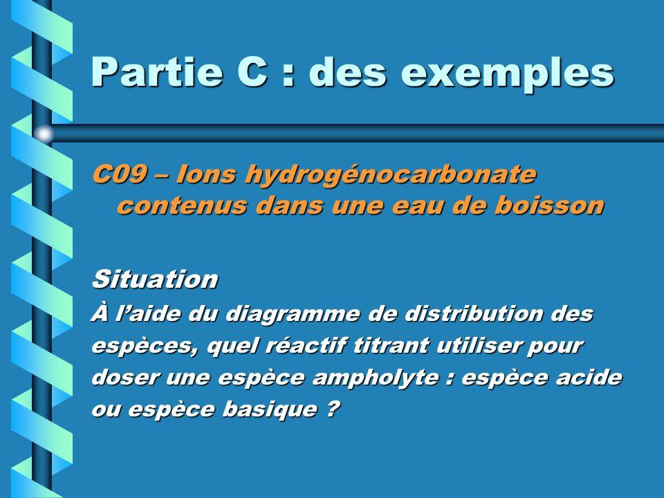 Partie C : des exemples C09 – Ions hydrogénocarbonate contenus dans une eau de boisson Situation À laide du diagramme de distribution des espèces, quel réactif titrant utiliser pour doser une espèce ampholyte : espèce acide ou espèce basique ?
