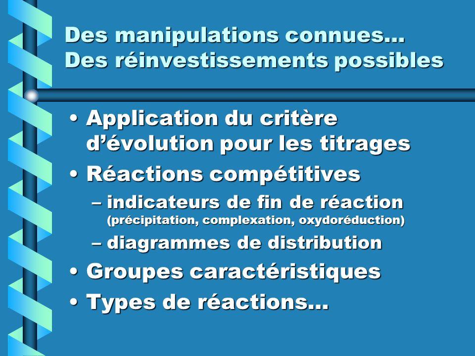 Des manipulations connues… Des réinvestissements possibles Application du critère dévolution pour les titragesApplication du critère dévolution pour l