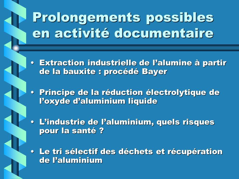 Prolongements possibles en activité documentaire Extraction industrielle de lalumine à partir de la bauxite : procédé BayerExtraction industrielle de