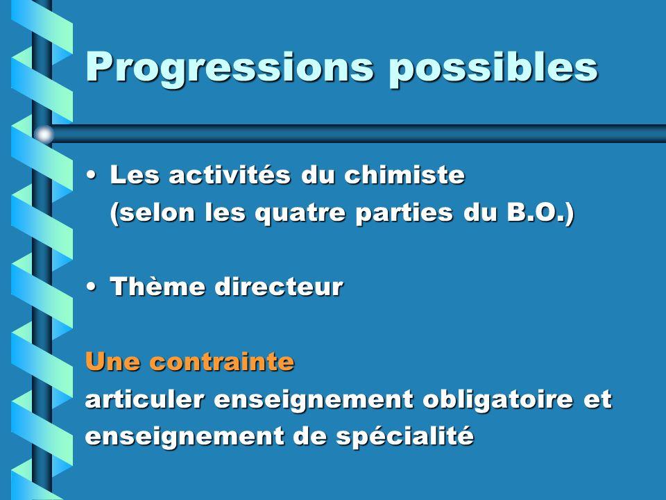 Progressions possibles Les activités du chimisteLes activités du chimiste (selon les quatre parties du B.O.) Thème directeurThème directeur Une contrainte articuler enseignement obligatoire et enseignement de spécialité