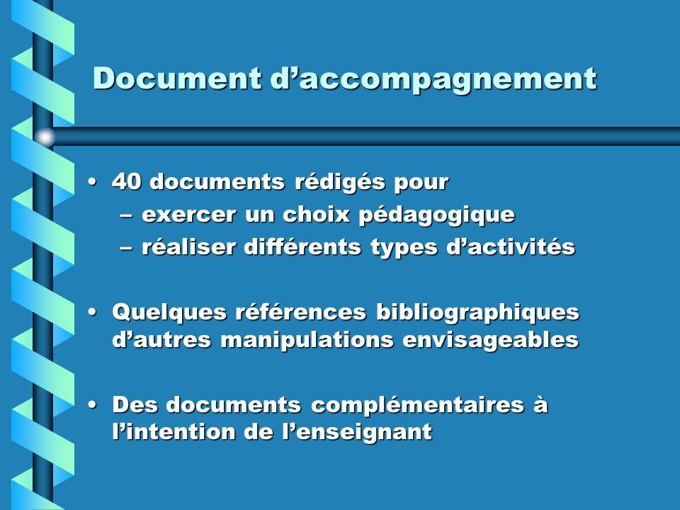 Document daccompagnement 40 documents rédigés pour40 documents rédigés pour –exercer un choix pédagogique –réaliser différents types dactivités Quelqu