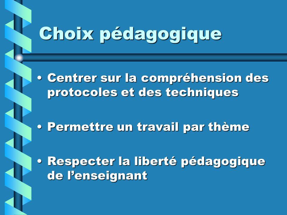Choix pédagogique Centrer sur la compréhension des protocoles et des techniquesCentrer sur la compréhension des protocoles et des techniques Permettre un travail par thèmePermettre un travail par thème Respecter la liberté pédagogique de lenseignantRespecter la liberté pédagogique de lenseignant