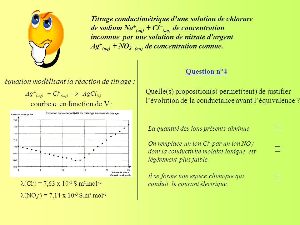 Question n°4 Quelle(s) proposition(s) permet(tent) de justifier lévolution de la conductance avant léquivalence ? La quantité des ions présents diminu