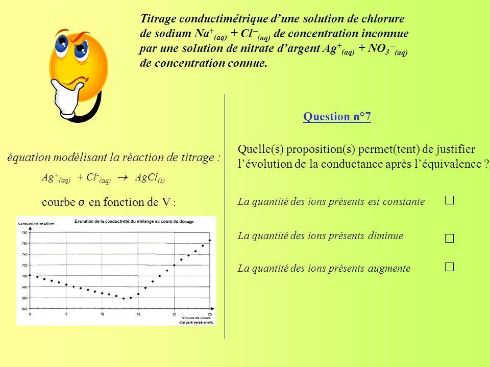 Question n°7 Quelle(s) proposition(s) permet(tent) de justifier lévolution de la conductance après léquivalence ? La quantité des ions présents est co