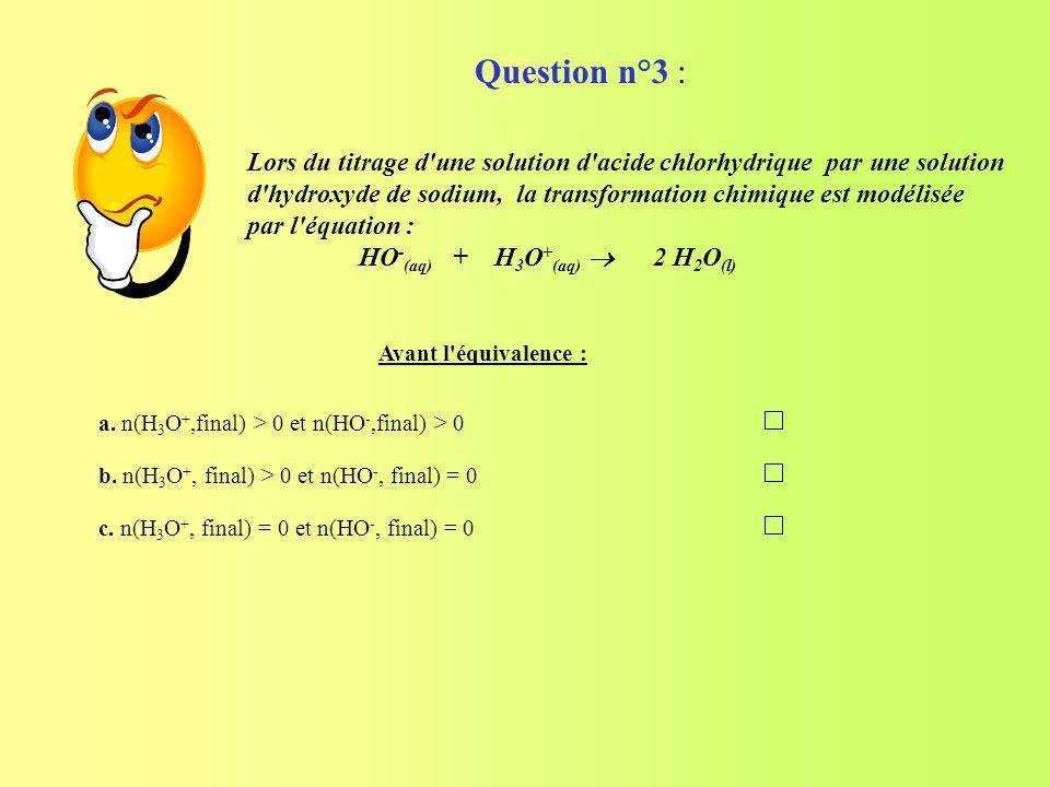 Lors du titrage d'une solution d'acide chlorhydrique par une solution d'hydroxyde de sodium, la transformation chimique est modélisée par l'équation :