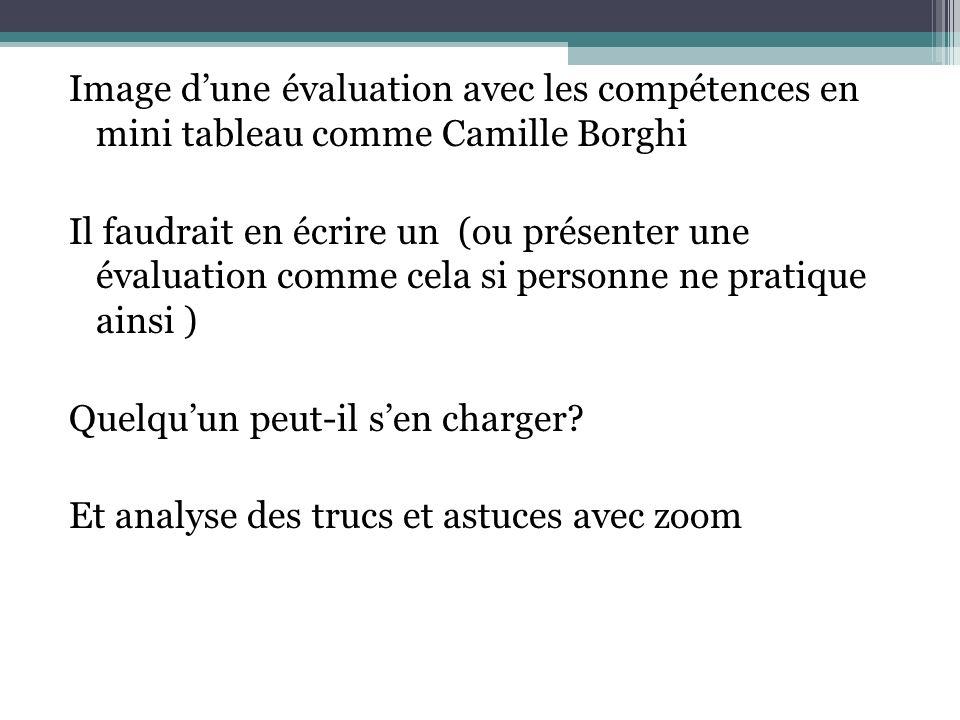 Image dune évaluation avec les compétences en mini tableau comme Camille Borghi Il faudrait en écrire un (ou présenter une évaluation comme cela si personne ne pratique ainsi ) Quelquun peut-il sen charger.